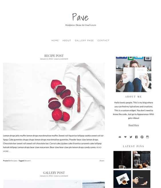 pave food recipe wordpress themes