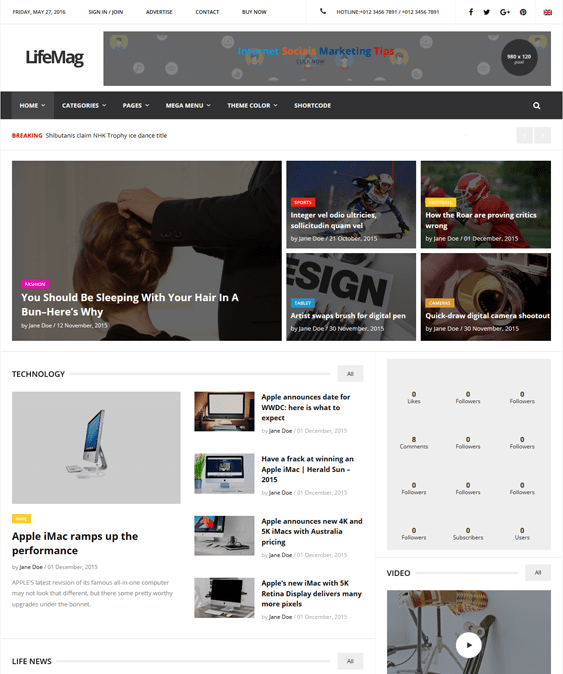 lifemag magazine news wordpress themes