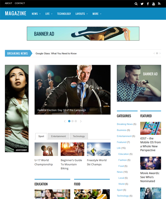 magazine news wordpress themese