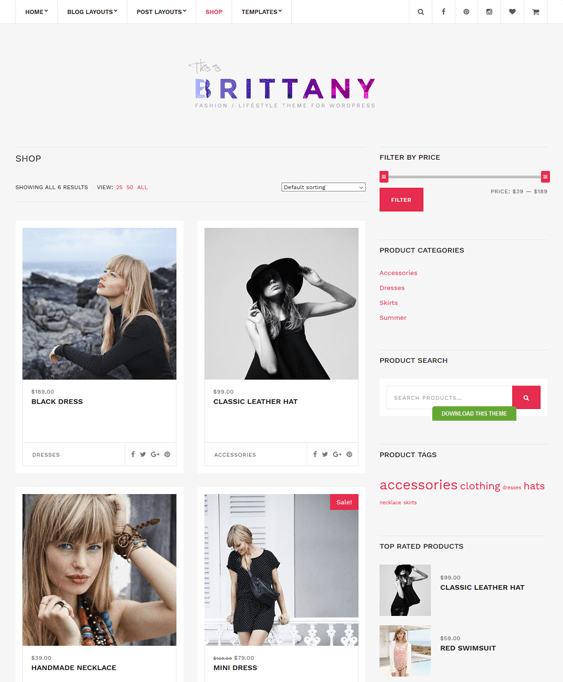 brittany woocommerce themes