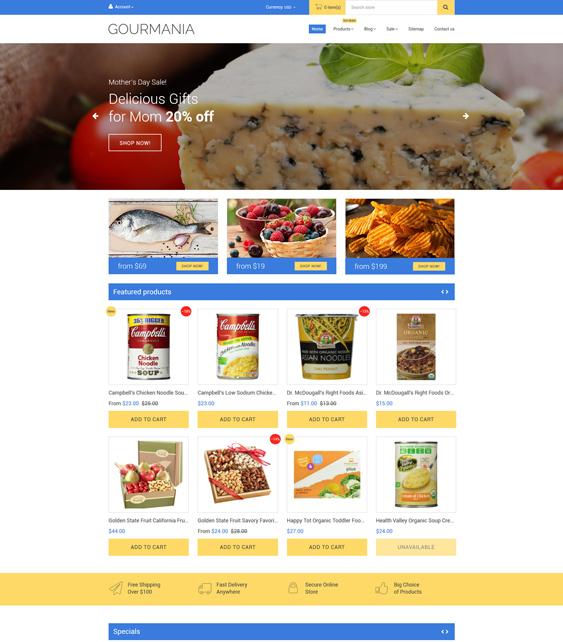 gourmania food drink shopify themes