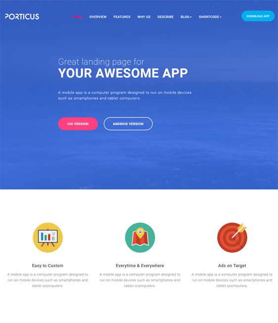 porticus promoting apps joomla templates