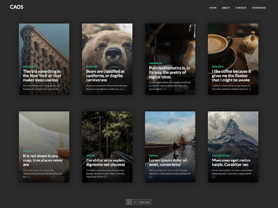 caos free dark wordpress themes