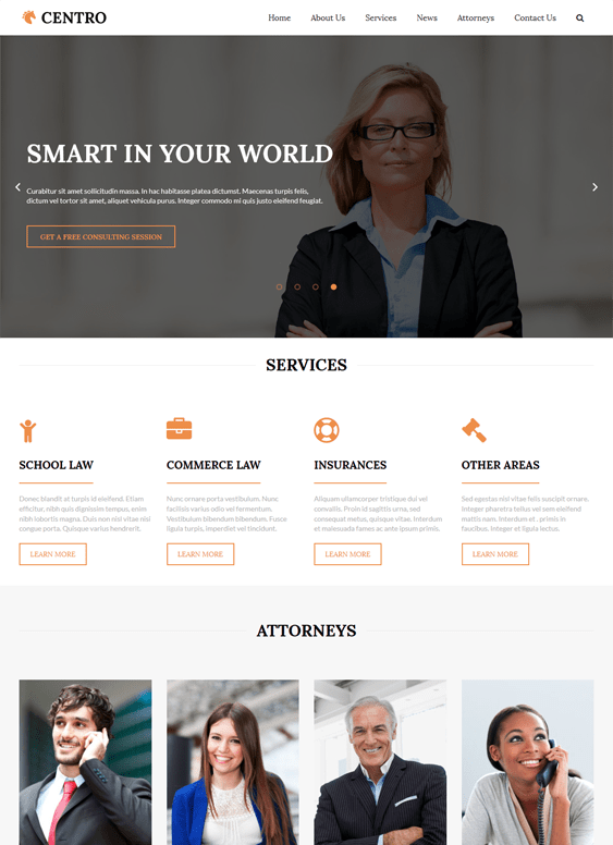 centro lawyers attorneys wordpress themes