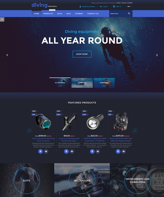 diving sports fitness shopify themes