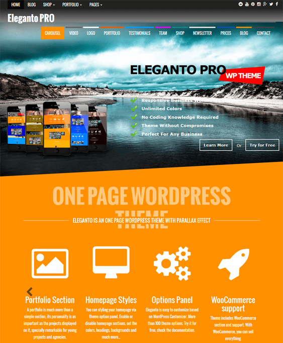 eleganto one page wordpress themes