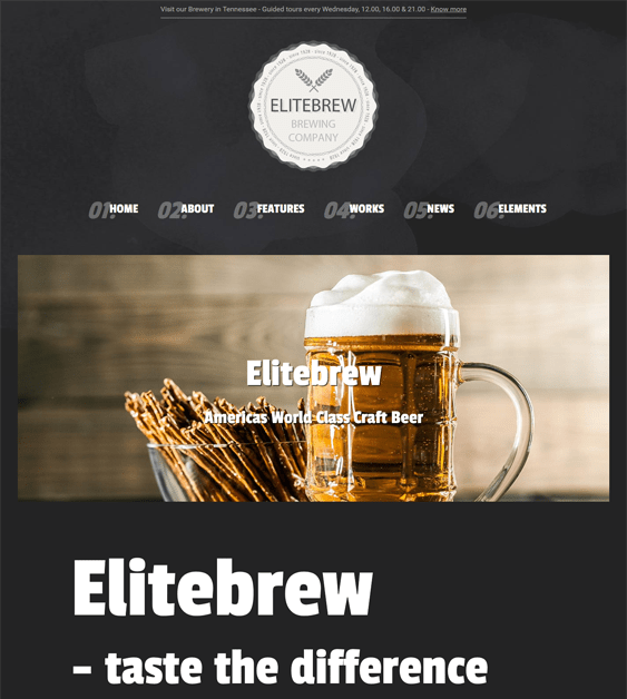 elitebrew dark wordpress themes