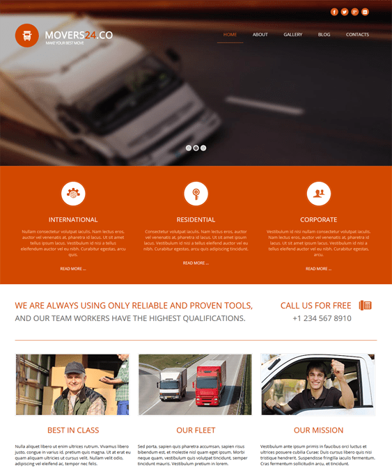 movers 24 transportation joomla templates