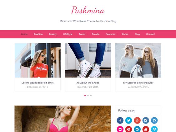 pashmina free feminine wordpress themes