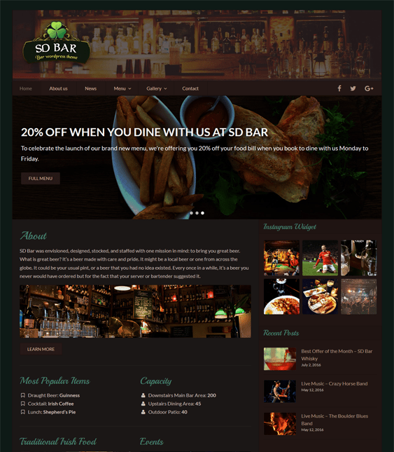 sd bar restaurant wordpress themes