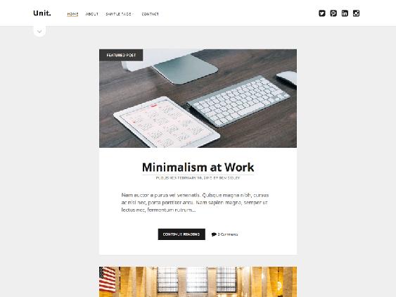 unit free minimal wordpress themes