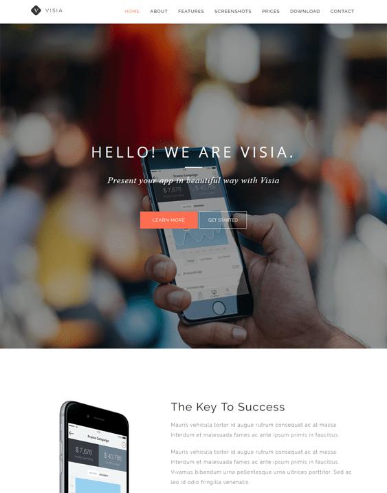 visia wordpress themes promoting apps