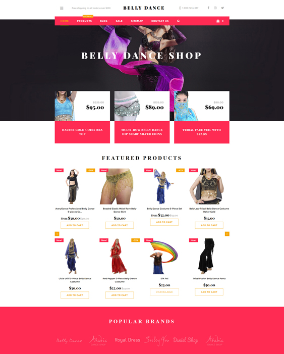 Belly Dance responsive shopify themes