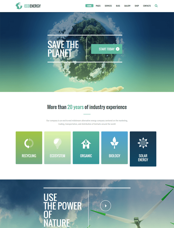 ecolife green eco-friendly organic wordpress themes