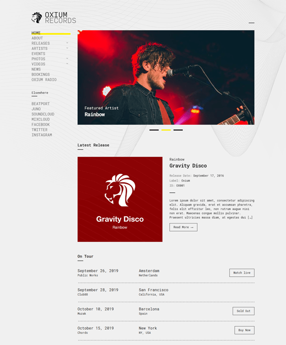 oxium music wordpress themes
