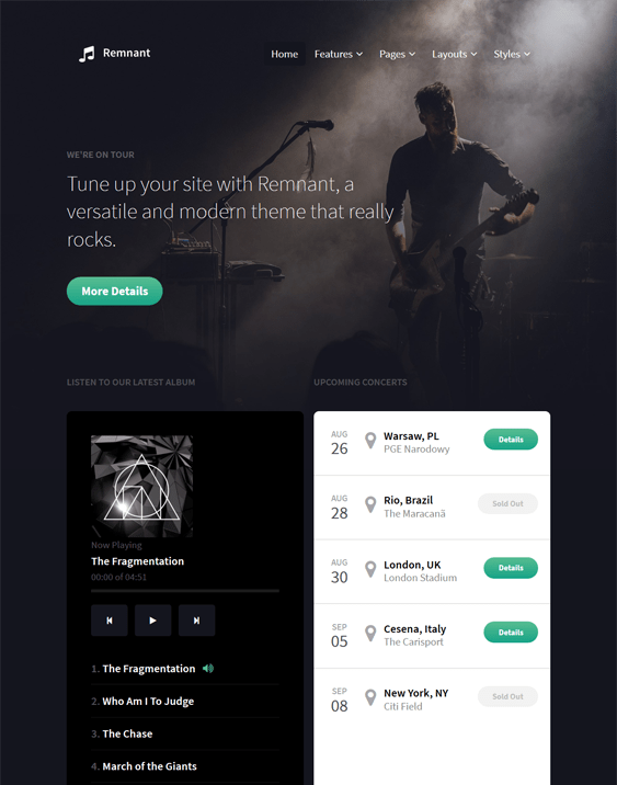 remnant music wordpress themes