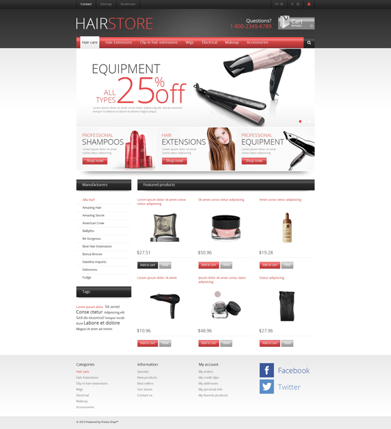responsive hair products prestashop themes
