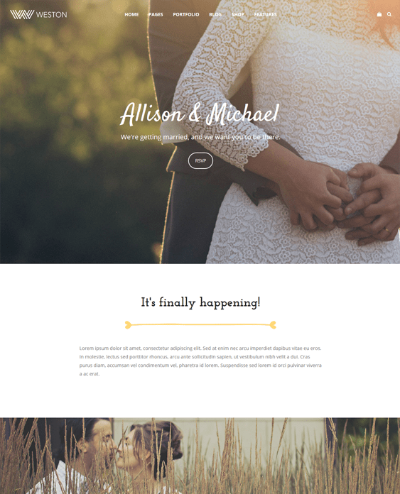 weston wedding wordpress themes