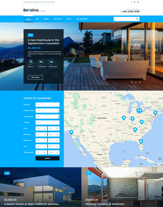 Bellaina real estate wordpress themes