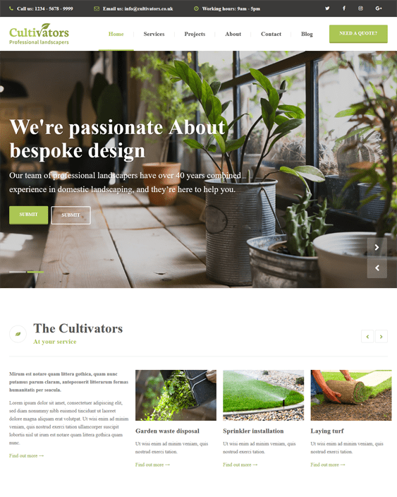 cultivators wordpress themes landscapers gardeners