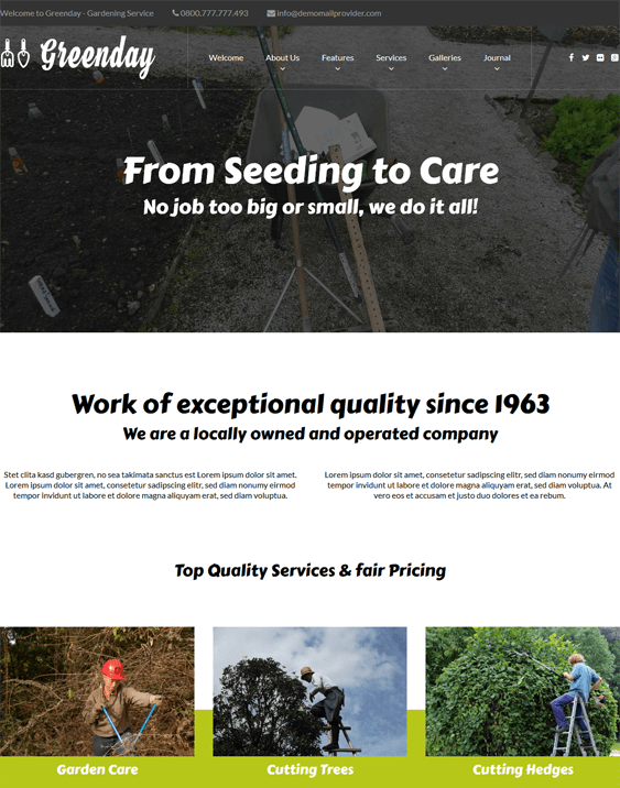 greenday wordpress themes landscapers gardeners