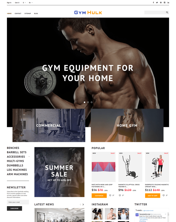 gym prestashop themes sports stores