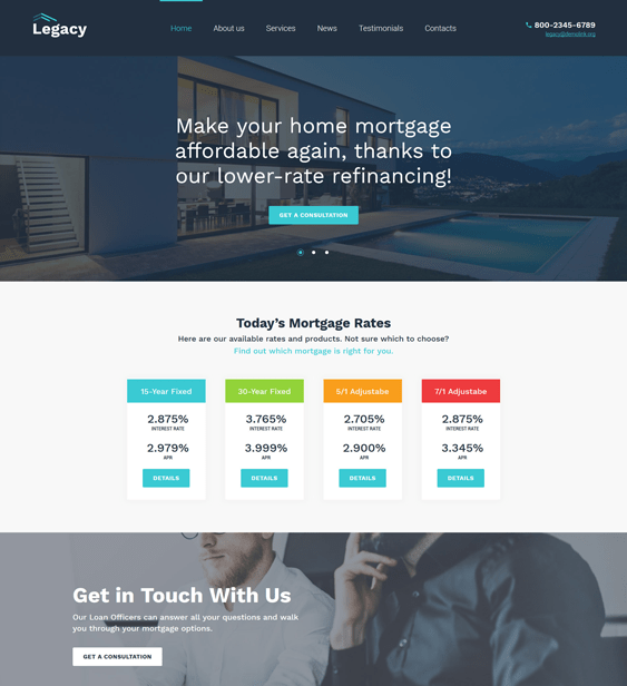 legacy loans mortgages wordpress themes