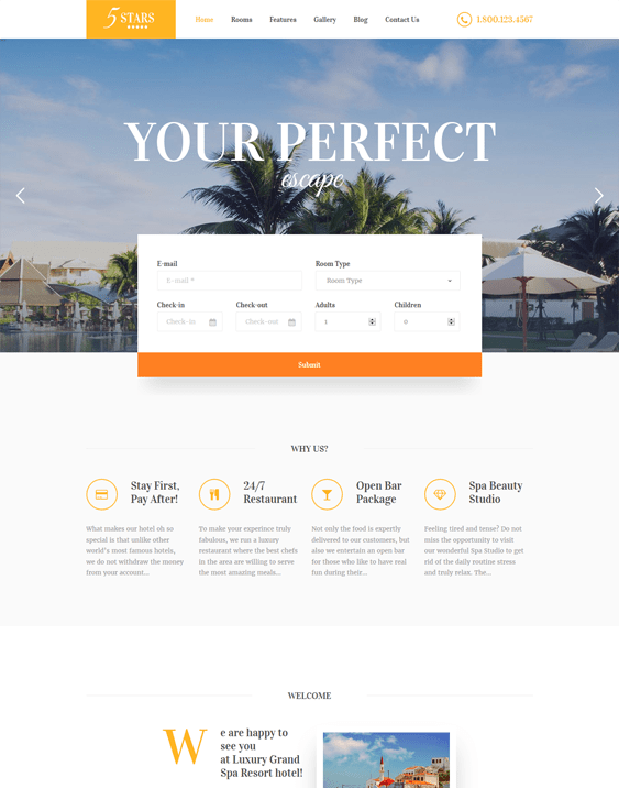 5 stars hotel wordpress themes