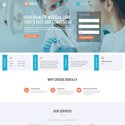 Dental Center Website Template (Bootstrap website template for dentists and dental clinics) Item Picture