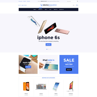 Electro Innovation Shopify Theme (clean Shopify theme) Item Picture