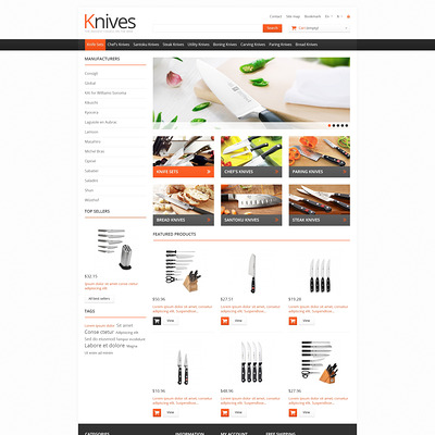 Knives for Easy Cooking PrestaShop Theme (PrestaShop theme for kitchen supplies) Item Picture