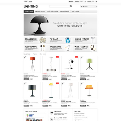 Lighting Interior PrestaShop Theme (PrestaShop theme for interior design and home decor) Item Picture