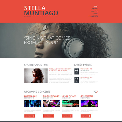 Singer Responsive Website Template (Bootstrap template for music websites) Item Picture
