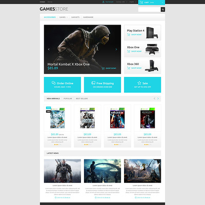 Video Games PrestaShop Theme (PrestaShop theme for video game stores) Item Picture