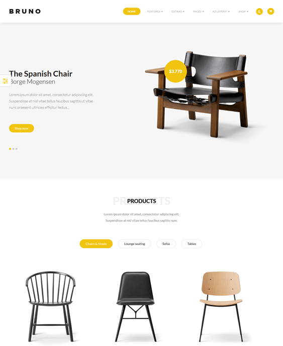 bruno furniture joomla templates