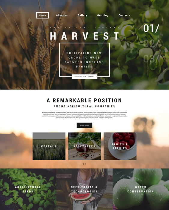 Harvest farm agriculture websites wordpress themes