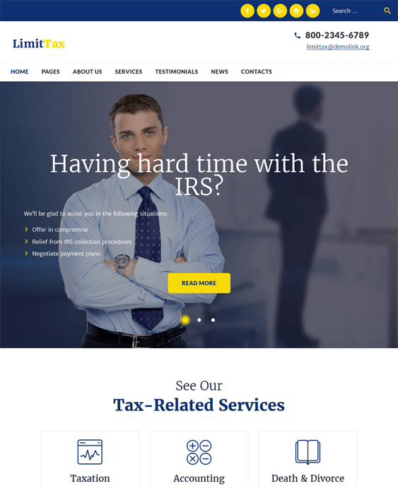 parker wordpress themes accountants accounting firms