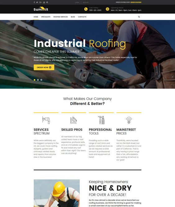 summit wordpress themes roofers roofing companies