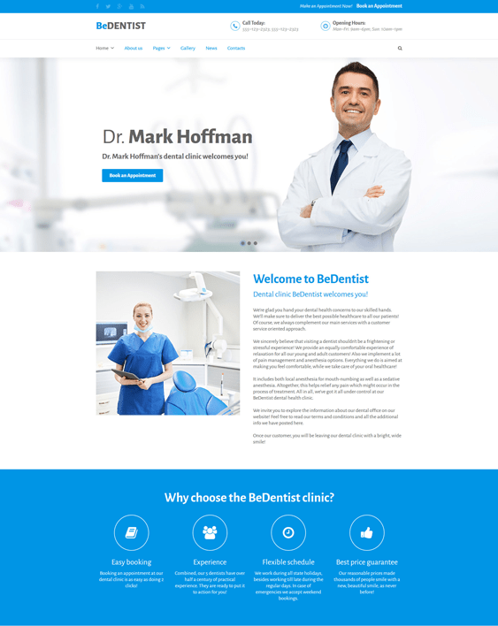 bedentist medical joomla templates