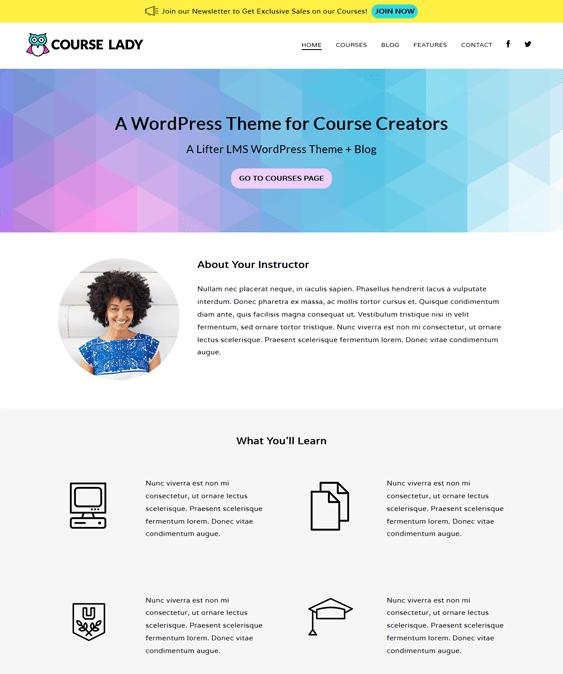 course lady education wordpress themes