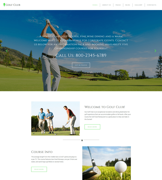 golf sports joomla templates