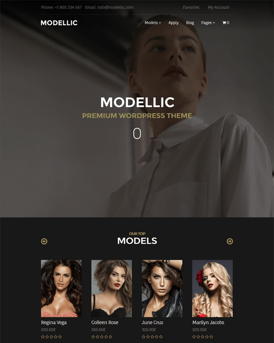 modellic wordpress themes models modelling agencies