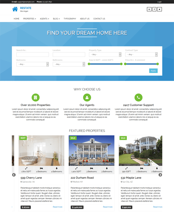 restate real estate drupal themes