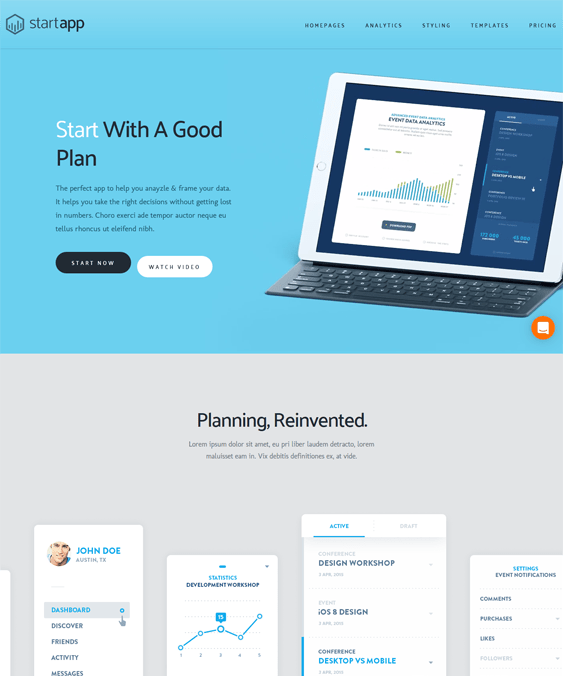 startapp landing page wordpress themes