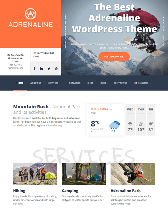 adrenaline sports wordpress themes