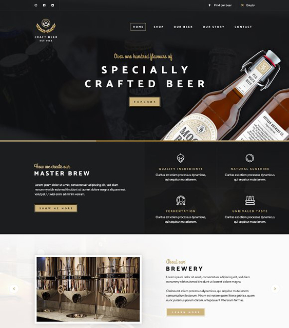craft food drink wordpress themes beer