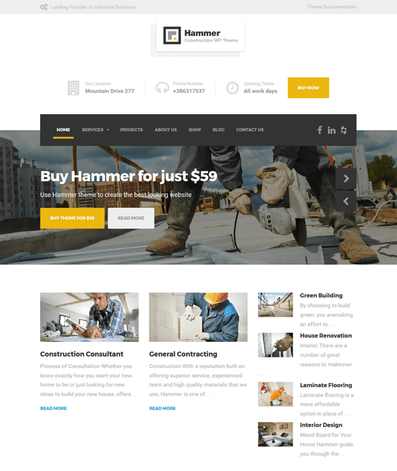 hammer wordpress themes construction companies building contractors