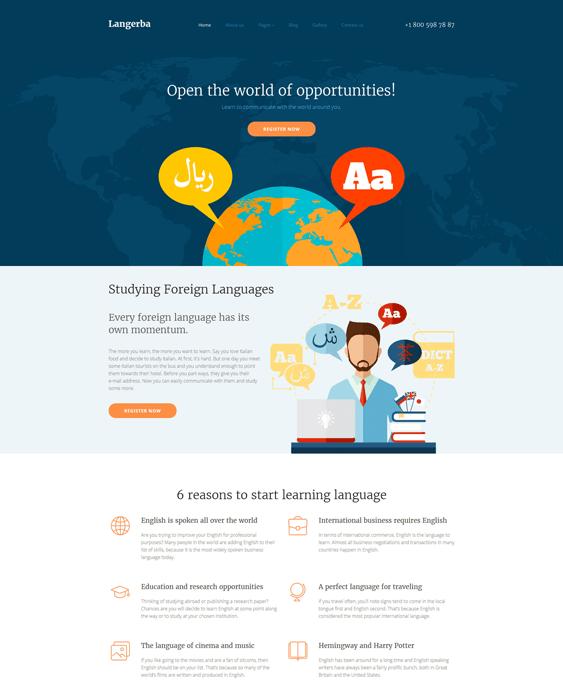 language school education joomla templates