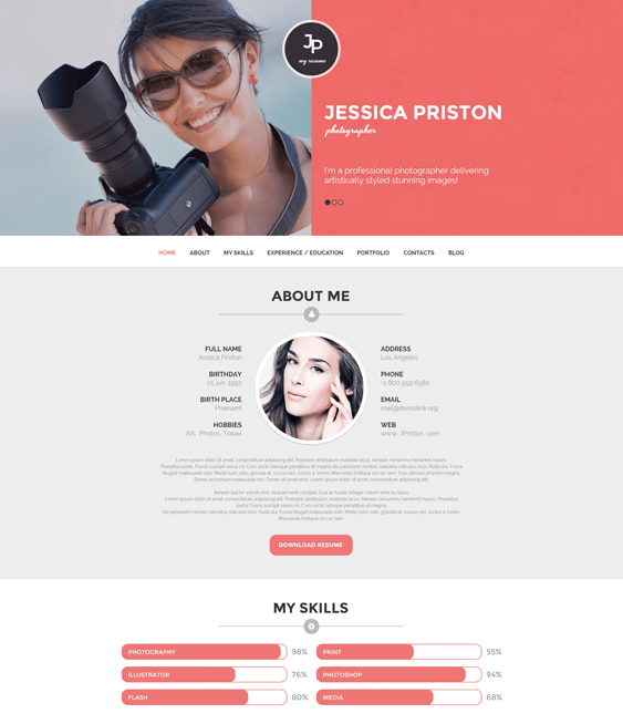 photographer cv resume wordpress themes