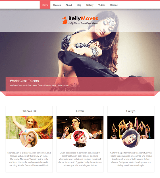 bellymoves WordPress theme for dance schools, classes, and studios